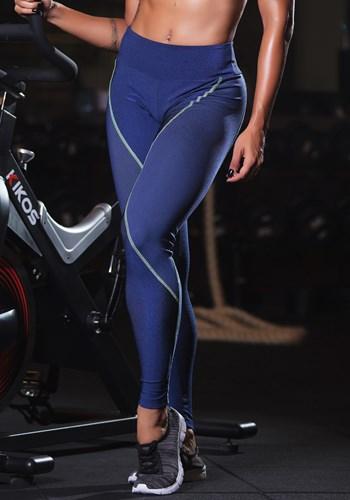 Calça legging grid azul texturizada com detalhe neon