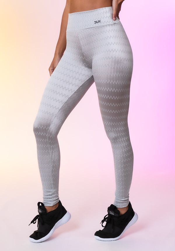 Calça legging happiness básica texturizada prata