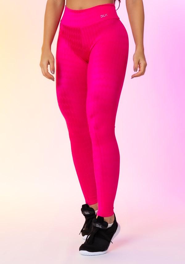 Calça legging happiness básica texturizada rosa