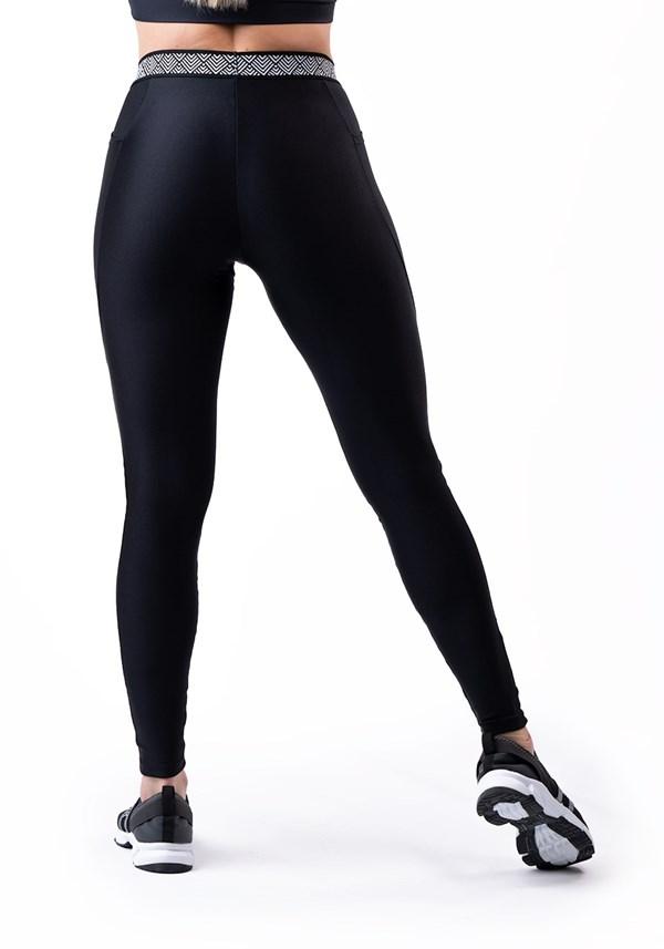 Calça legging happiness com elástico étnico e bolso preto