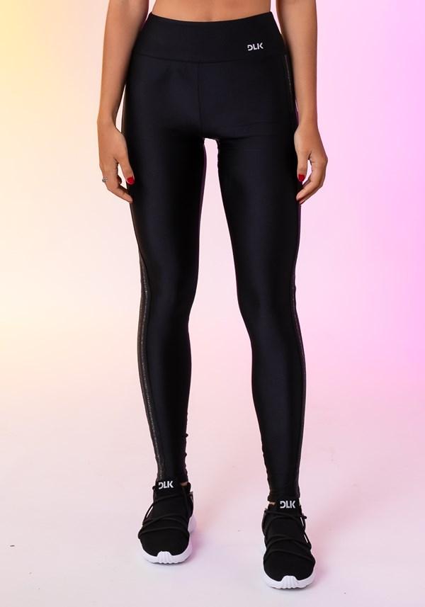 Calça legging happiness com elástico lateral preta