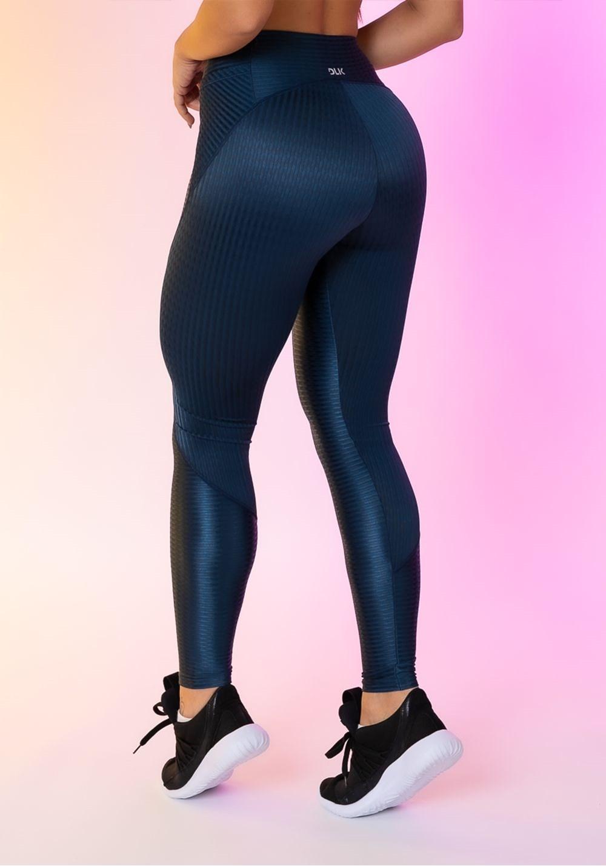 Calça legging happiness com recortes e bolso azul marinho