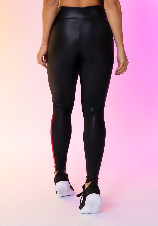 Calça legging happiness com recortes laterais preta e cereja