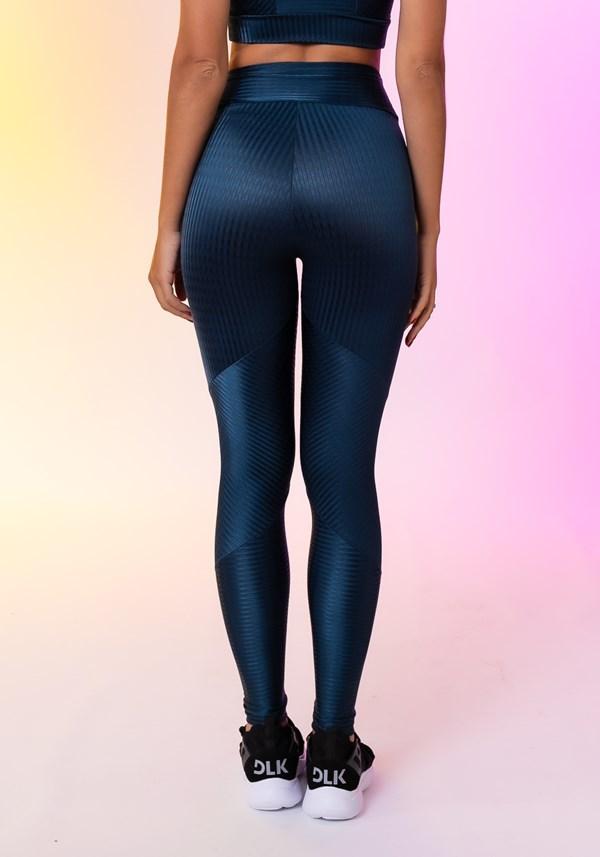 Calça legging happiness com recortes texturizada azul marinho