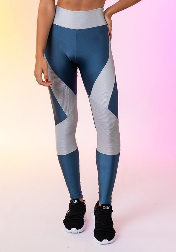 Calça legging happiness com recortes texturizados prata e azul marinho