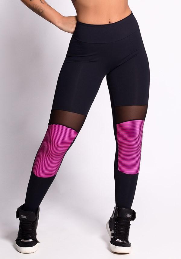 Calça legging illusion pink com tule