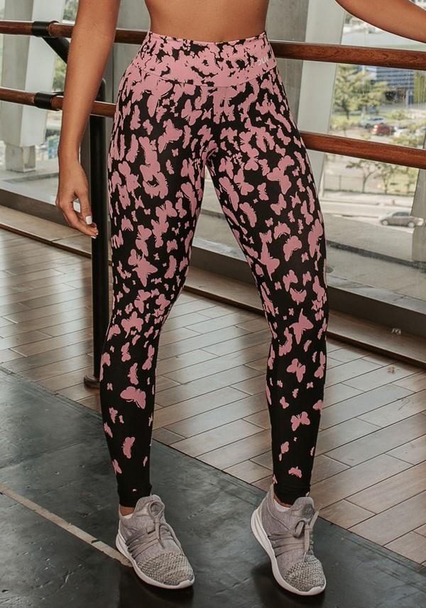 Calça legging jacquard borboleta rosa reverse