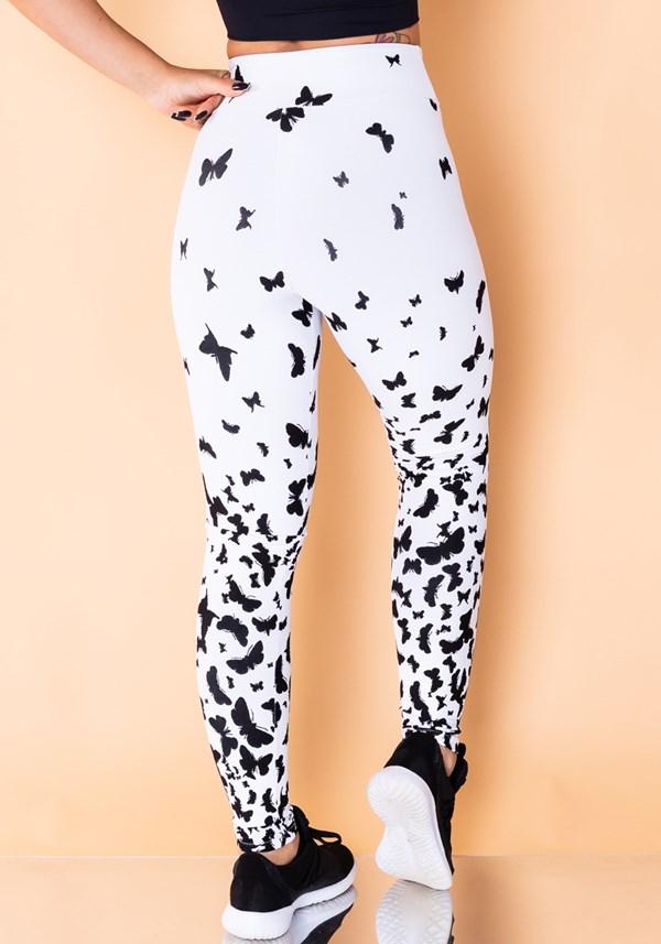 Calça legging jacquard branca borboleta preta