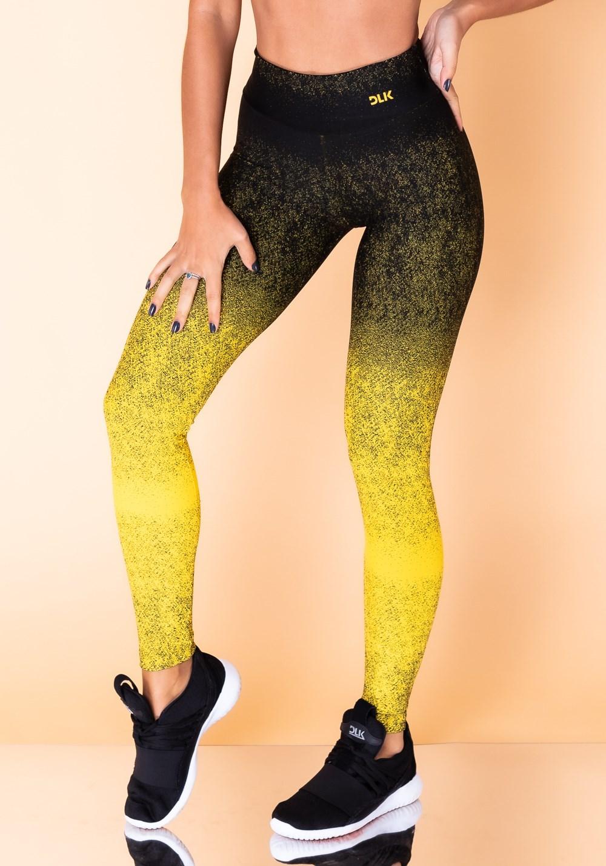 Calça legging jacquard degradê amarela com preto