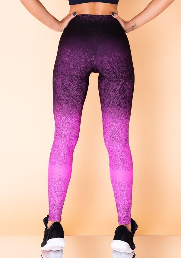 Calça legging jacquard degradê pink com preto