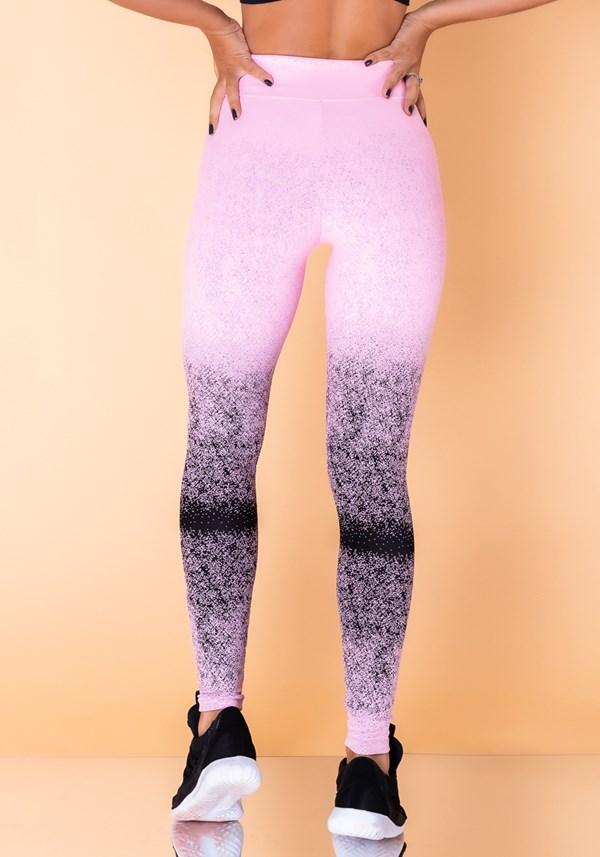 Calça legging jacquard degradê rosa com preto