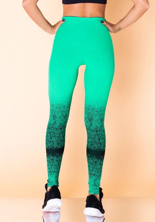 Calça legging jacquard degradê verde com preto