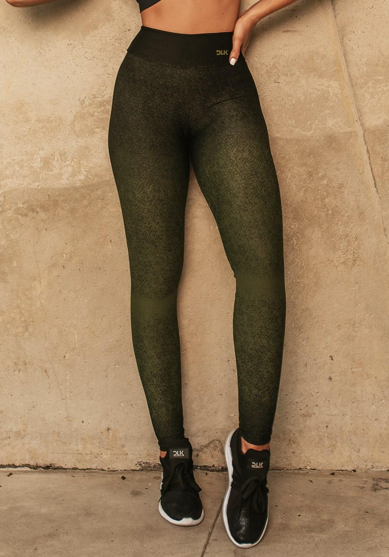Calça legging jacquard degradê verde militar com preto