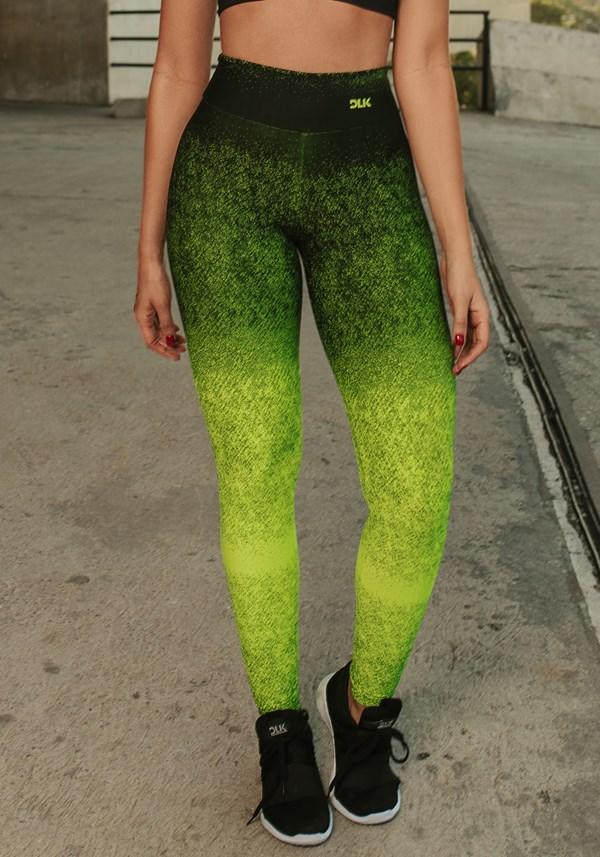 Calça legging jacquard degradê verde neon com preto