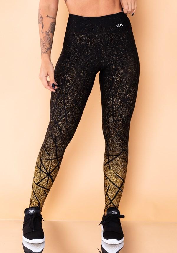 Calça legging jacquard dourado linhas pretas