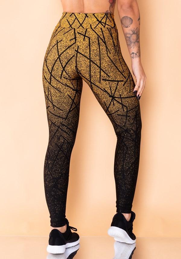 Calça legging jacquard dourado linhas pretas reverse