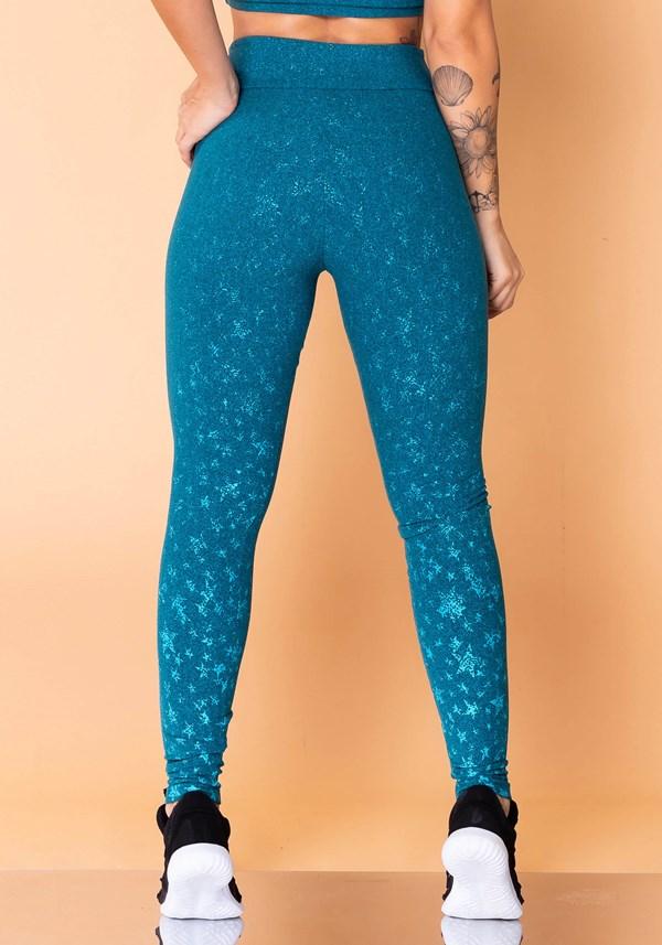 Calça legging jacquard estrela azul