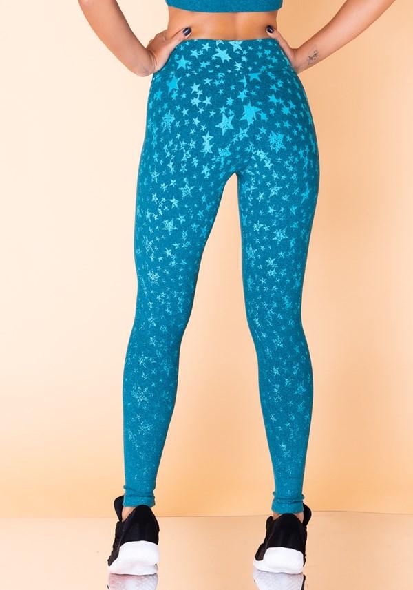Calça legging jacquard estrela azul reverse