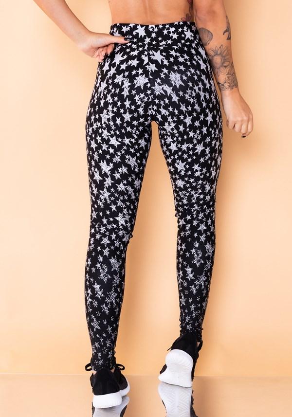 Calça legging jacquard estrela branca reverse
