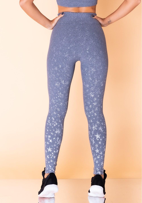 Calça legging jacquard estrela mescla