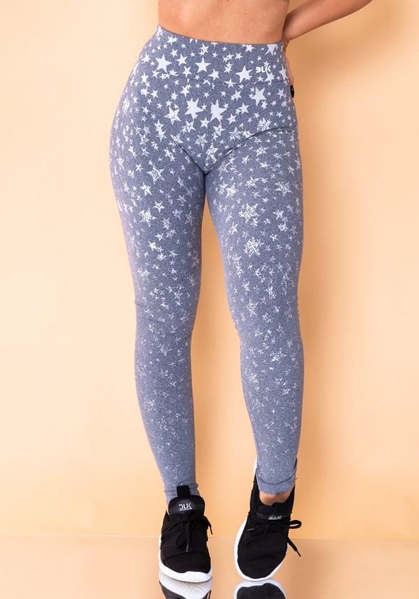 Calça legging jacquard estrela mescla reverse