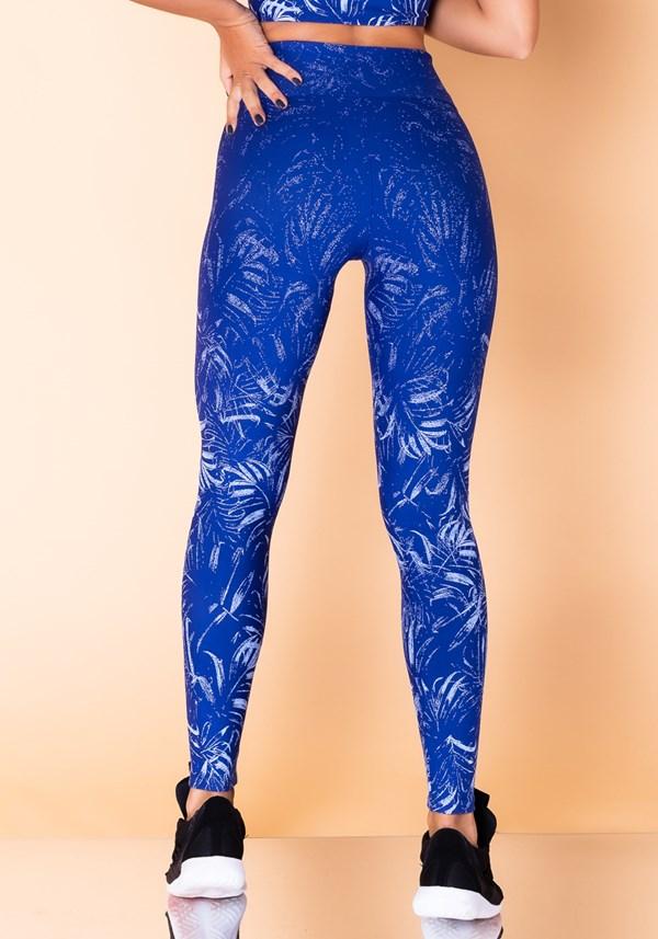 Calça legging jacquard folha azul