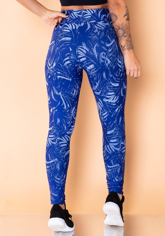 Calça legging jacquard folha azul reverse