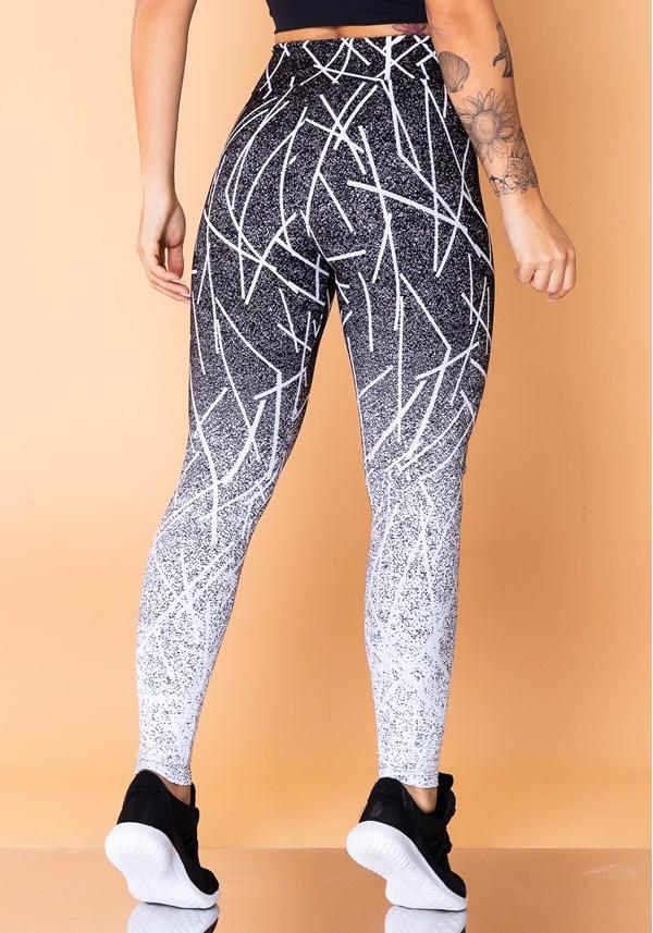 Calça legging jacquard light linhas brancas reverse