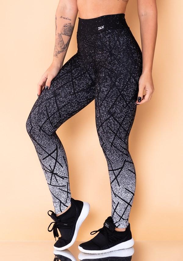 Calça legging jacquard linhas pretas