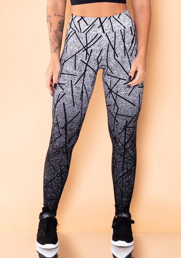 Calça legging jacquard linhas pretas reverse
