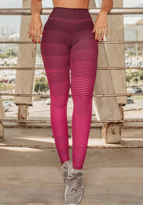 Calça legging jacquard listrado pink com preto