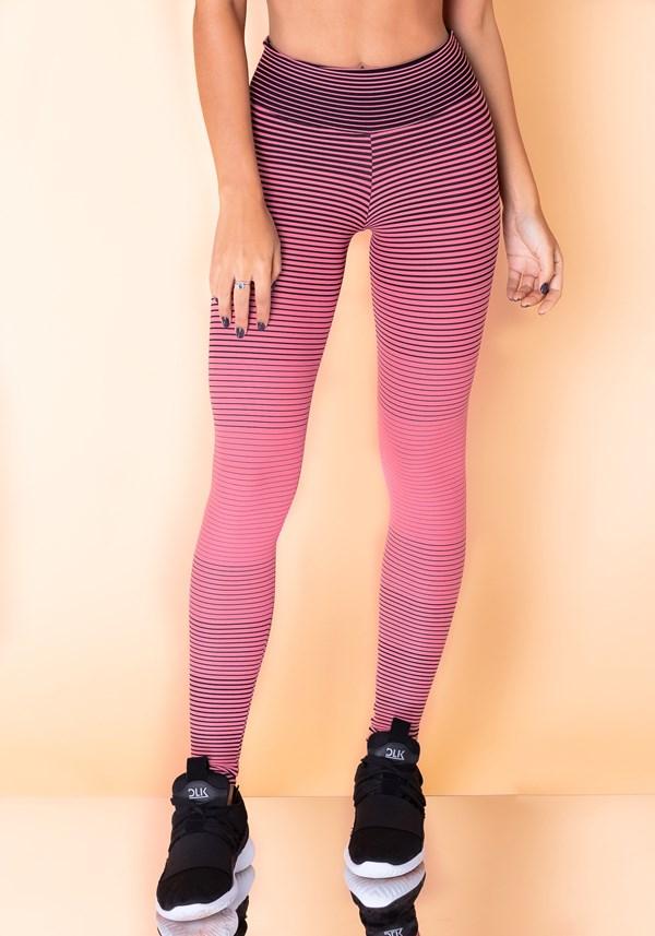 Calça legging jacquard listrado rosa com preto