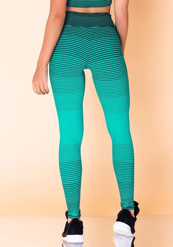 Calça legging jacquard listrado verde com preto