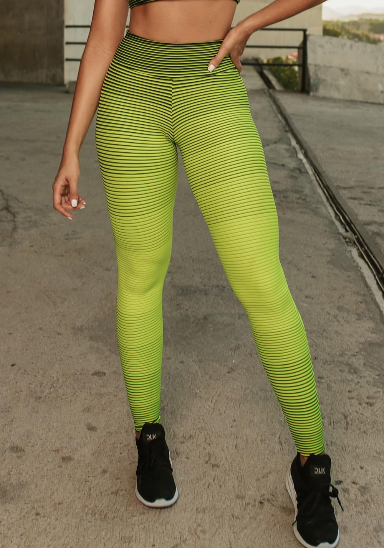 Calça legging jacquard listrado verde neon com preto