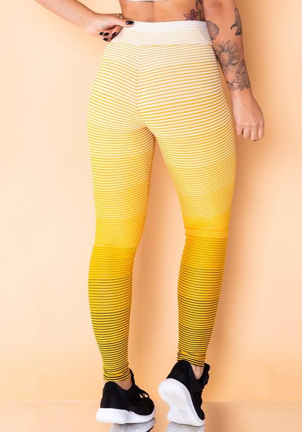 Calça legging jacquard listras amarela