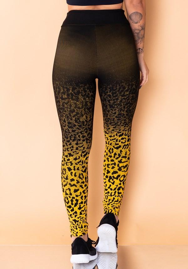 Calça legging jacquard onça amarela com preto