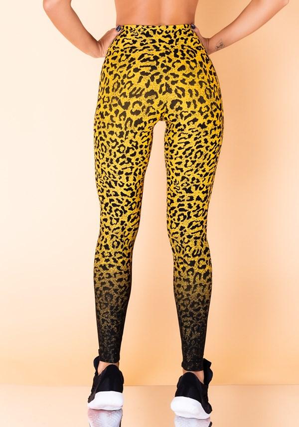 Calça legging jacquard onça preta com amarelo reverse
