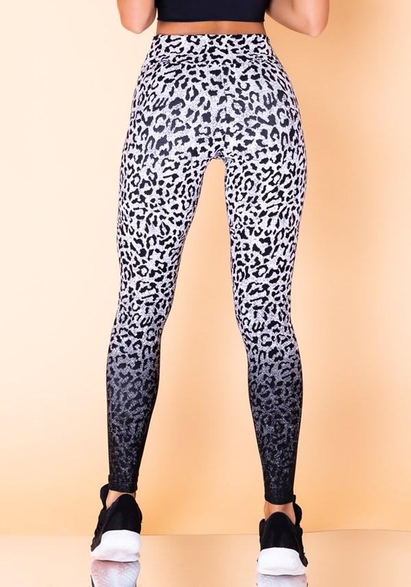 Calça legging jacquard onça preta com branco reverse