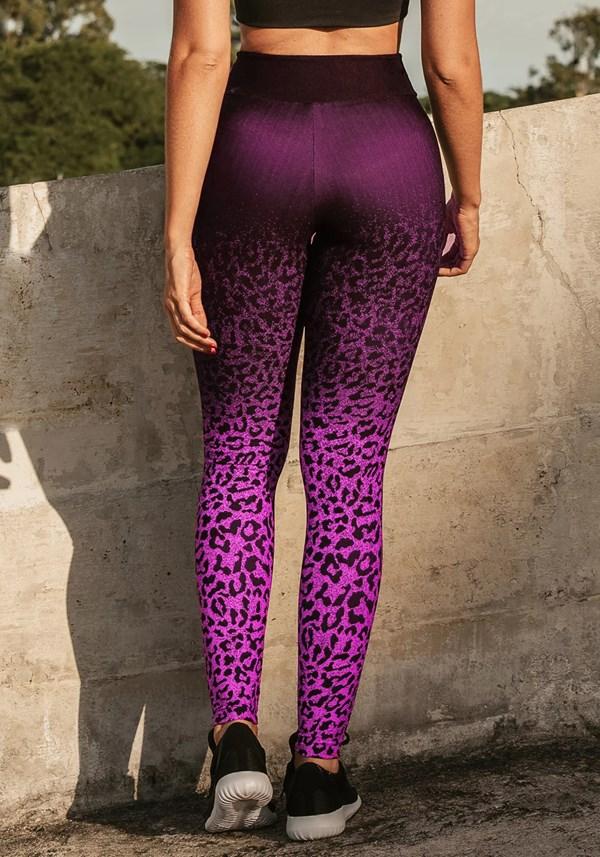 Calça legging jacquard onça rosa com preto