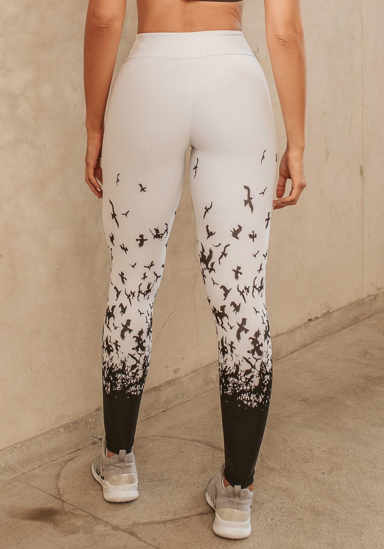 Calça legging jacquard pássaros pretos