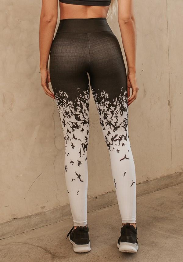 Calça legging jacquard pássaros pretos reverse