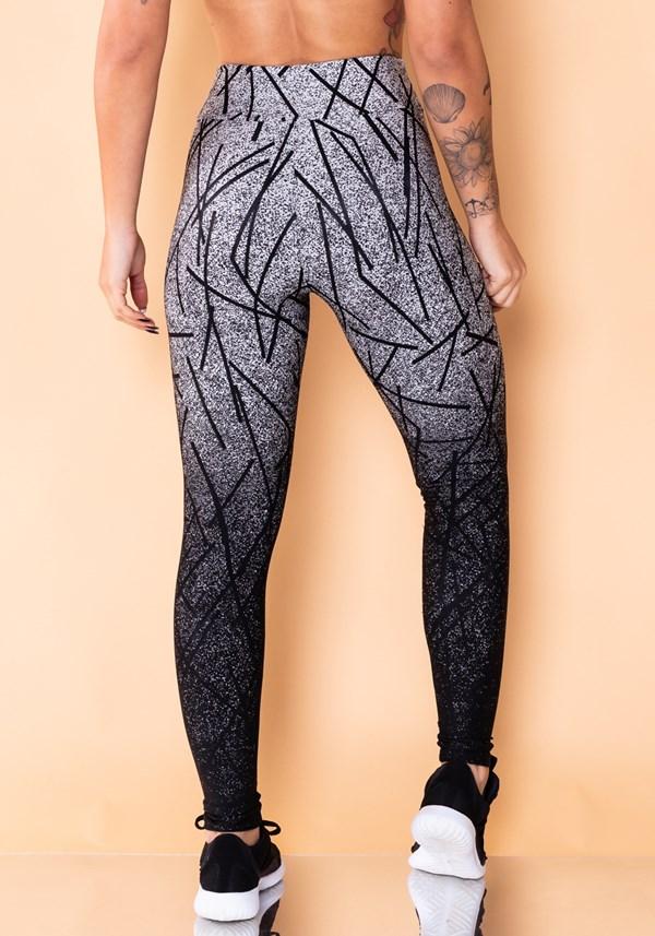 Calça legging jacquard prata linhas pretas reverse