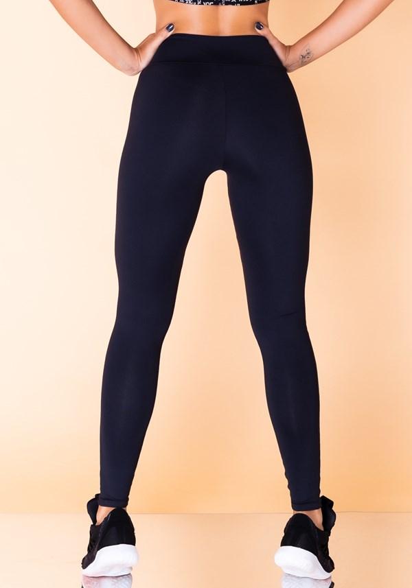 Calça legging jacquard preta dlk branco reverse