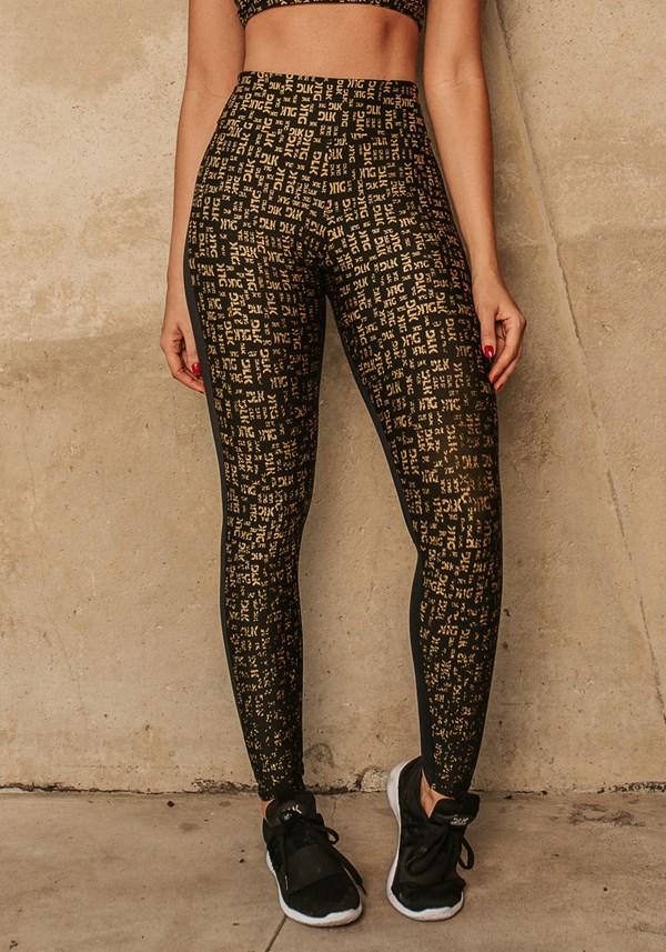 Calça legging jacquard preta dlk dourado reverse
