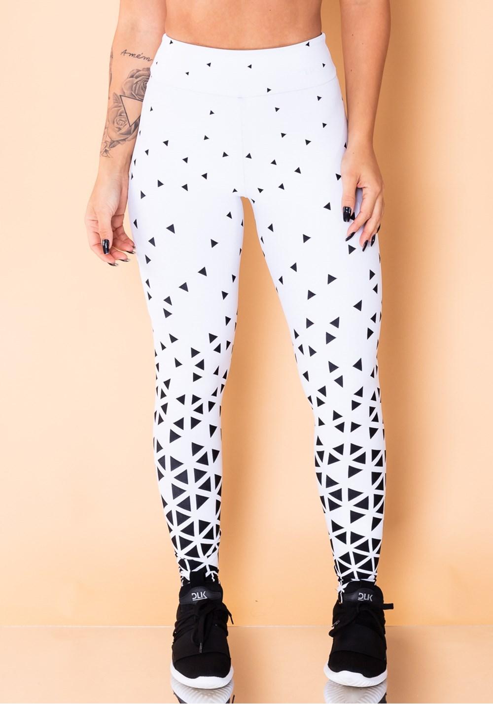 Calça legging jacquard triângulo branca