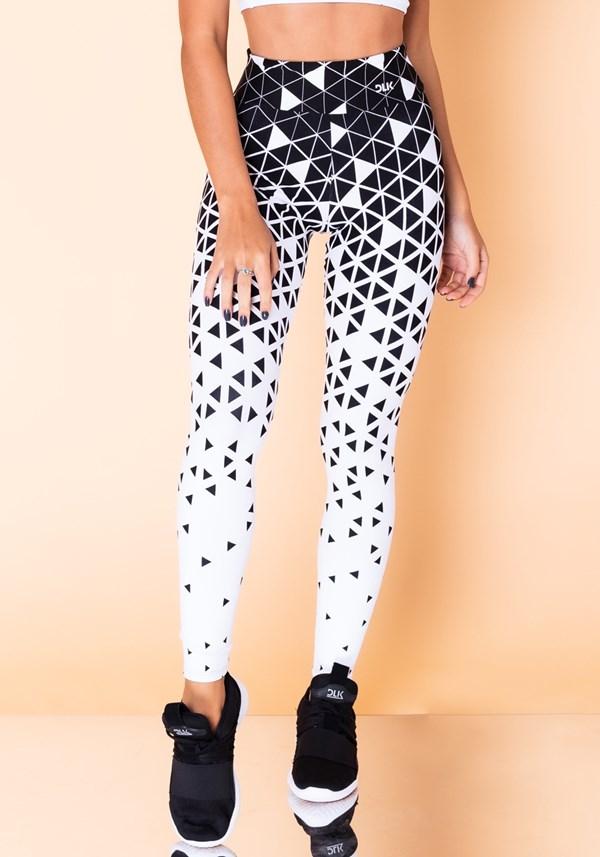 Calça legging jacquard triângulo branca reverse