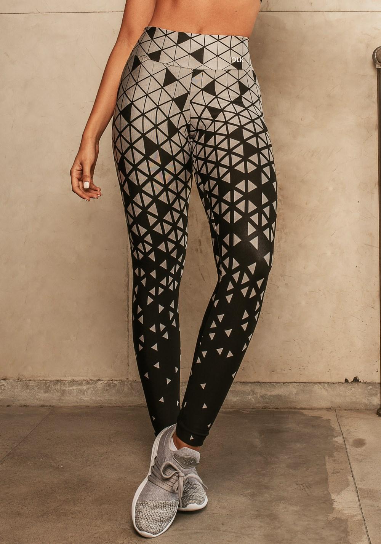Calça legging jacquard triângulo prata reverse