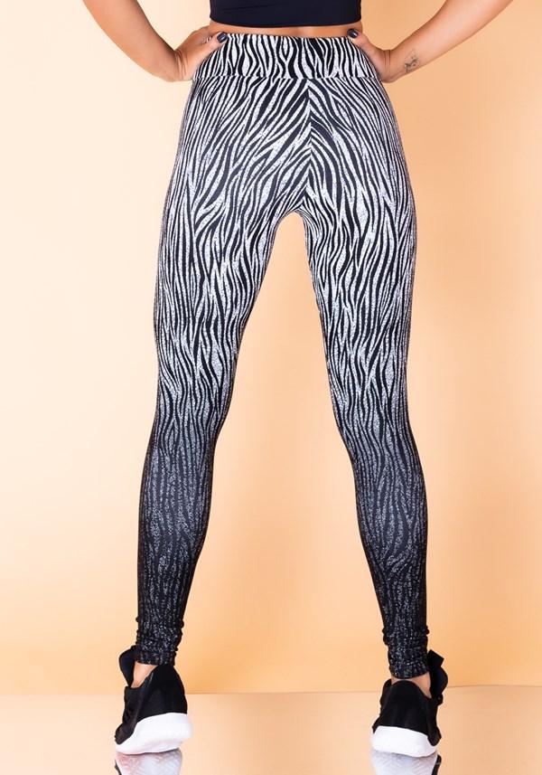 Calça legging jacquard zebra branco reverse