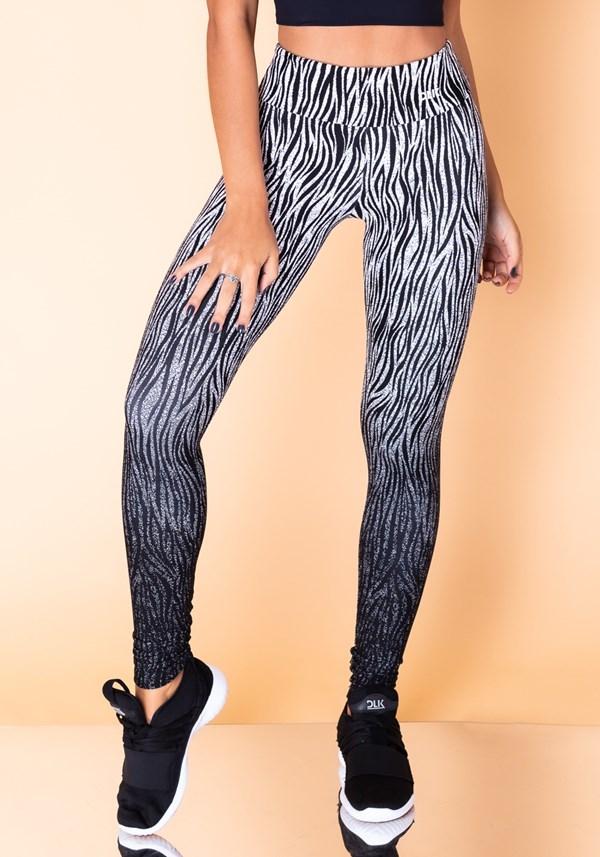 Produto Calça legging jacquard zebra branco reverse