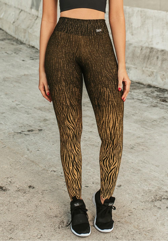 Calça legging jacquard zebra dourado